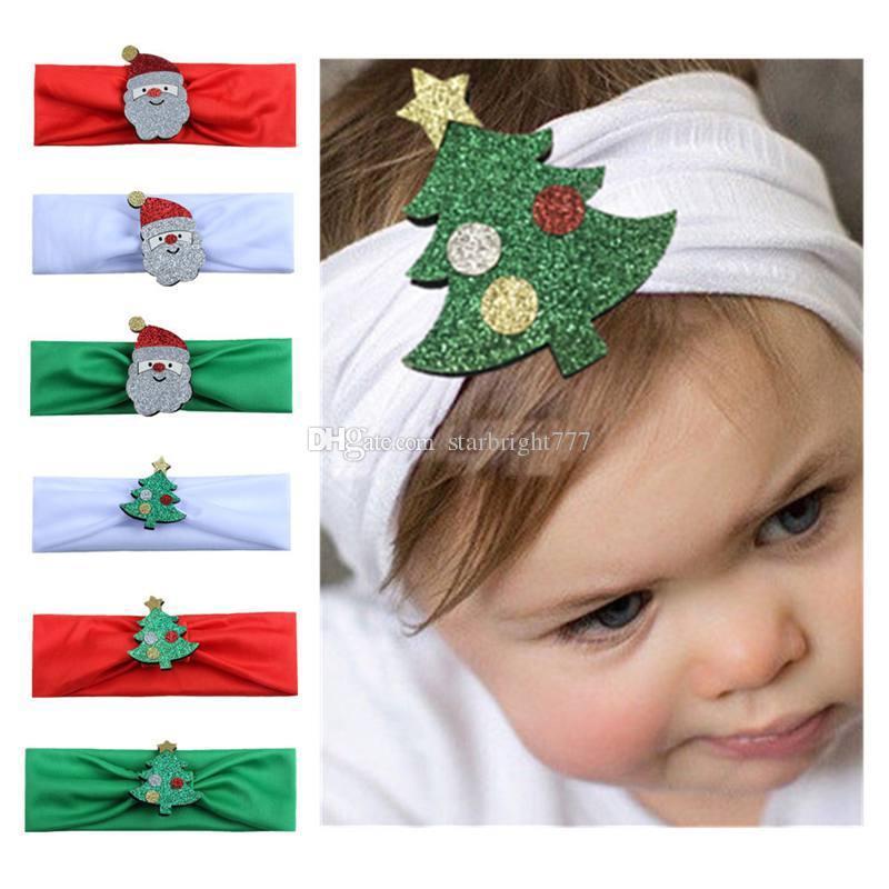 Cotton fascia di Natale con glitter Babbo Natale per le ragazze scherza elastico Hairband Solid per il partito del copricapo Accessori per capelli