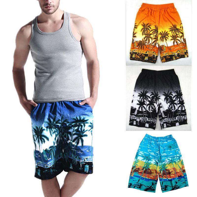 Мужские плавательные шорты летний пляж кокосовое дерево печати случайные свободные купальники эластичный пояс быстросохнущие боксеры дышащие шорты