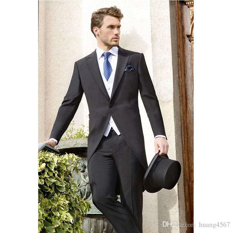 Morning Style One Button Nero Smoking da sposo Smoking picco Groomsmen Uomo Abiti da ballo Prom Giacca (giacca + pantaloni + vest + cravatta) 160