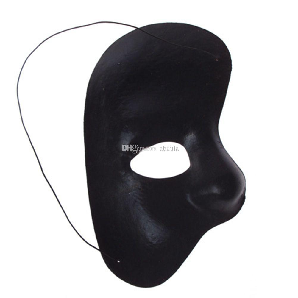 White Half Face Phantom Of The Operah Face Mask Halloween Fancy Dress