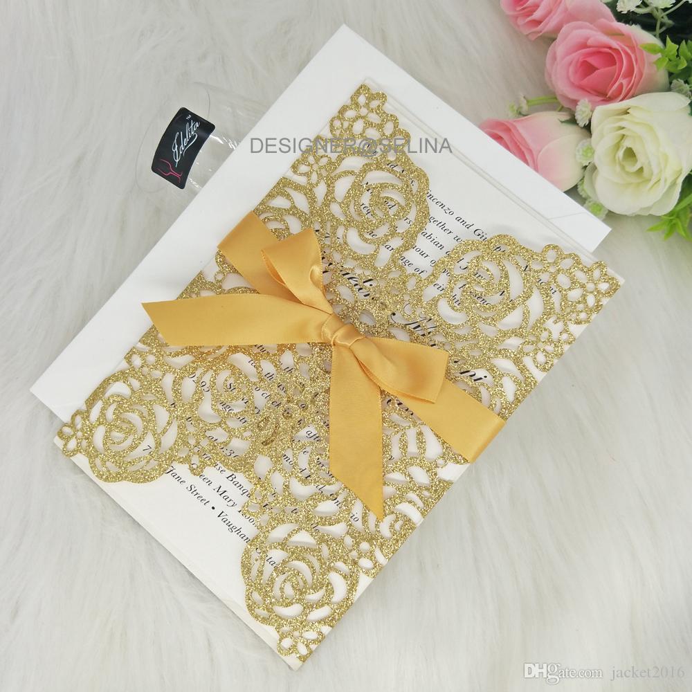 Compre Elegante Glitter Oro Tarjetas De Invitaciones De Corte Láser Para Bodas Ducha Nupcial Compromiso Quinceañera Fiesta De Graduación De Cumpleaños