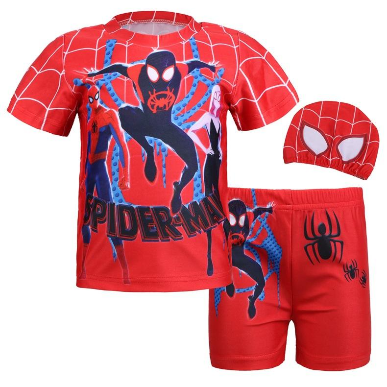 6 Styles Fashion Children 3Pcs Clothes Super Hero Spiderman Altman Swimming trunks cap Suit Boys Swimsuit Kids T-shirt Shorts