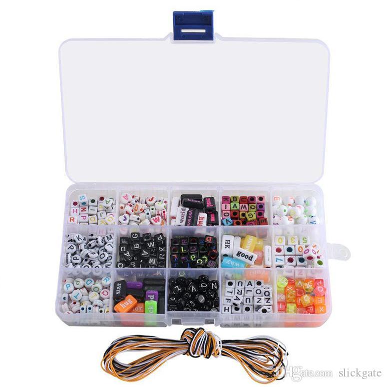 15 estilos Carta contas de acrílico alfabeto Cube Beads para fazer jóias A-Z coração para fazer jóias Correntes pulseiras colares chave N69Y