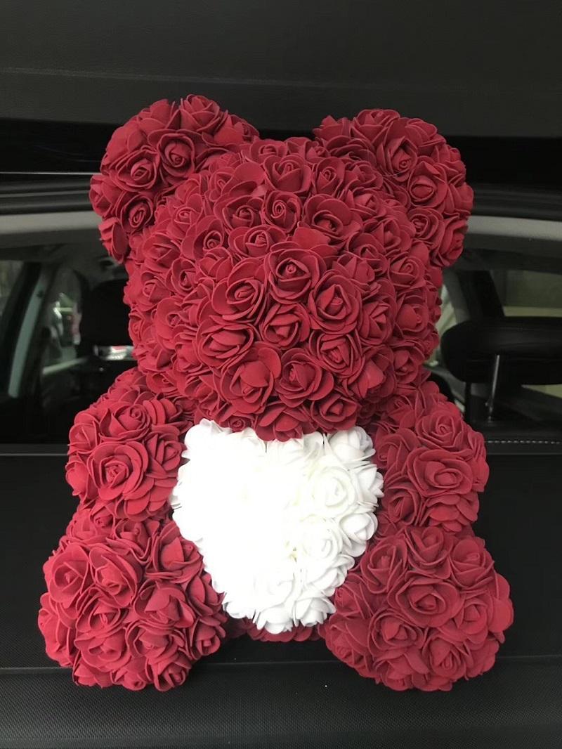 Heißer Verkaufs-40cm Bär von Rosen mit Herzen Künstliche Blumen Startseite Hochzeit Festival DIY Günstige Hochzeit Dekoration Kranz Crafts bestes Geschenk amazzz