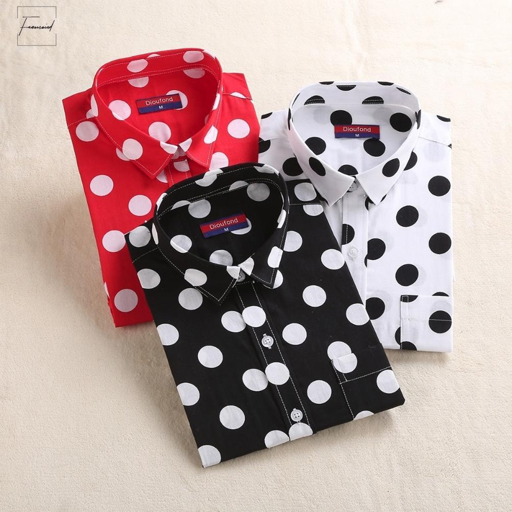 Блузки Красный Горошек Женщины Рубашки Формальные Хлопок Стенд Воротник Дамы С Длинным Рукавом Старинные Рубашки Плюс Размер Топы Мода Одежда