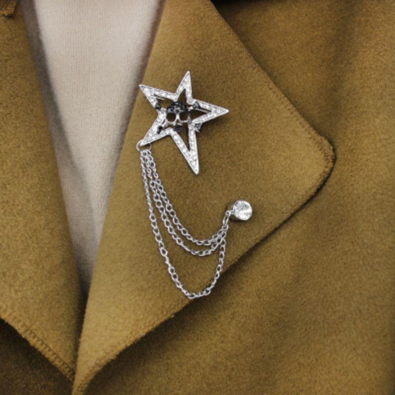 Broche Vintage Hommes Pin Lapel avec la chaîne Tassel Gold Star strass Pin Collier pour Femmes Hommes Blouse Décorations Costume Shirt