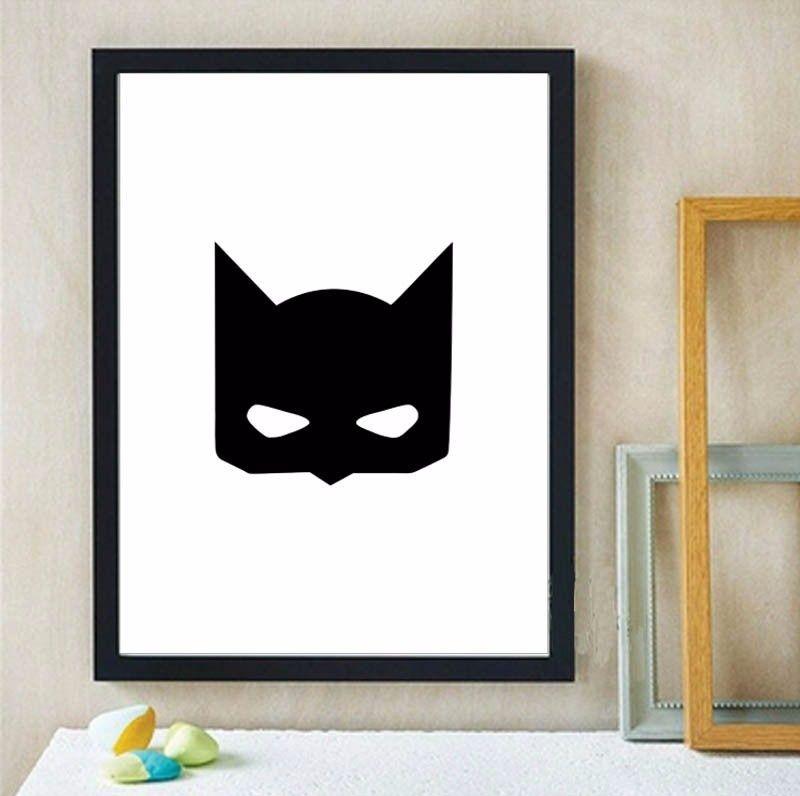 Superhero Batman mask art Print Canvas poster,Nursery Wall Art for kids Room Decor