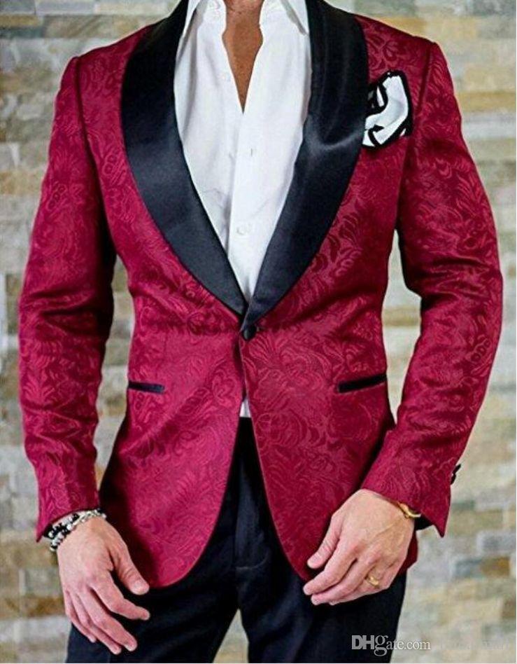 2020 Borgogna Embrodiery Groomsmen Suit picco risvolto smoking dello sposo degli uomini vestiti di cerimonia nuziale Wedding / Prom / Cena Best Man Blazer Tux (Jacket + Pants)
