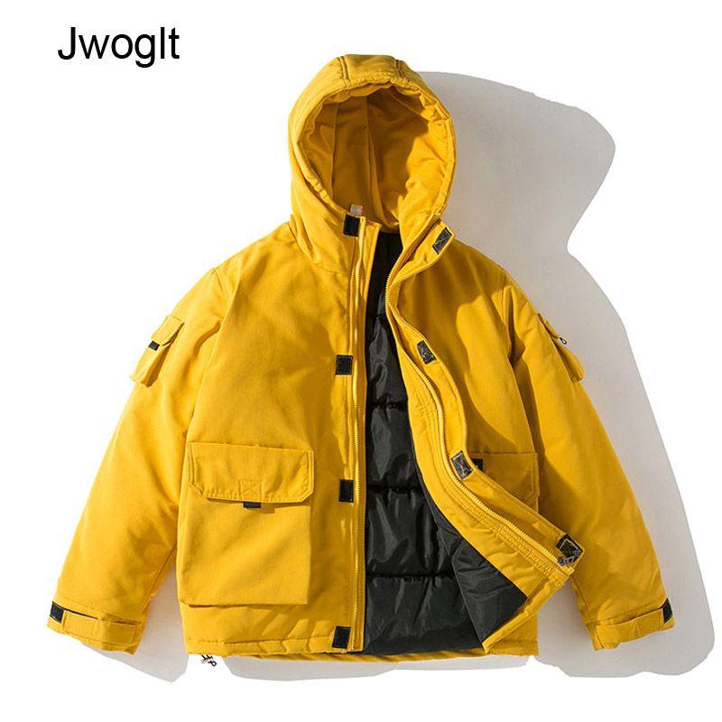 Winter Jacket Men Hooded Thick Warm Parkas Coat Casual Black Yellow Letter Printed Zipper Multi-Pocket Mens Overcoat 4XL 5XL