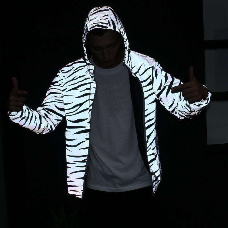Hommes Femmes Veste coupe-vent imperméable réfléchissant Zebra Stripes impression double couches Veste Hip-hop Pocket capuche Streetwear