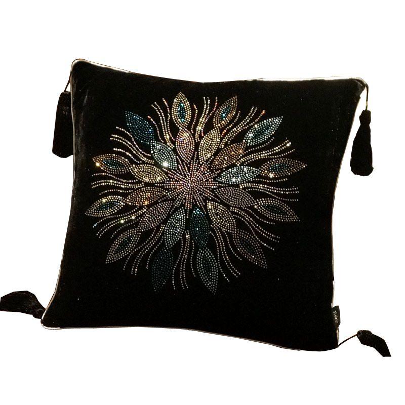 Preto strass sofá de veludo luxo travesseiro travesseiro almofada almofadas Car diamante Almofada