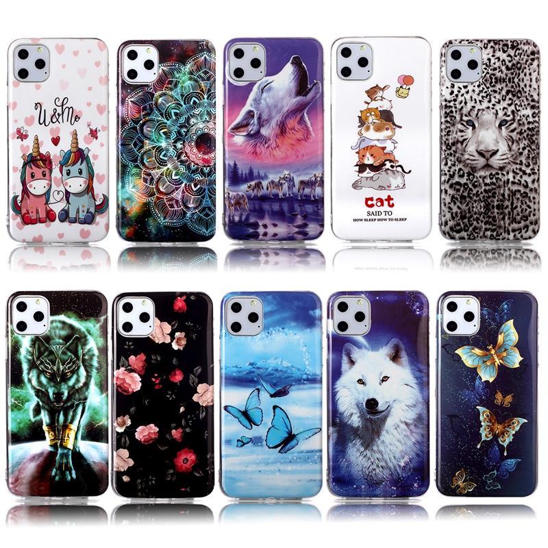 Luminous Loup tigre doux TPU pour iPhone 12 11 Pro Max XR XS MAX 8 7 Plus 6 SE 2020 Fleur de papillon dentelle Cat Leopard Glow In Dark Cover