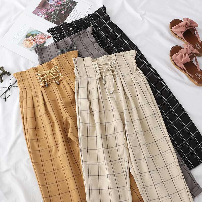 Mulheres Primavera Verão cordão Harem Pants 2020 cintura alta bege / amarelo / preto calças New manta soltas Casual Calças Femininas