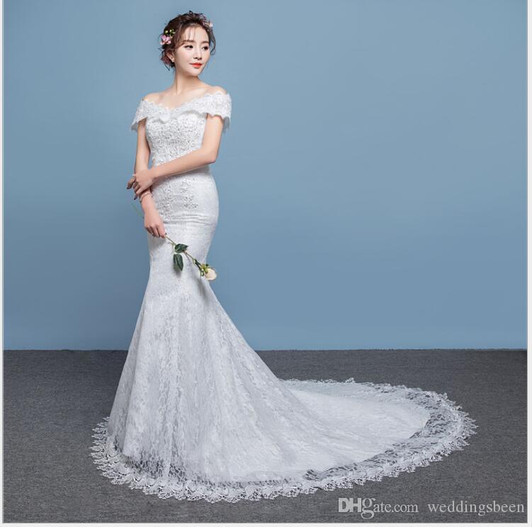 Abito da sposa monospalla nuova sposa sposato Slim sciancrata abito da sposa fishtail pizzo piccolo trascinamento