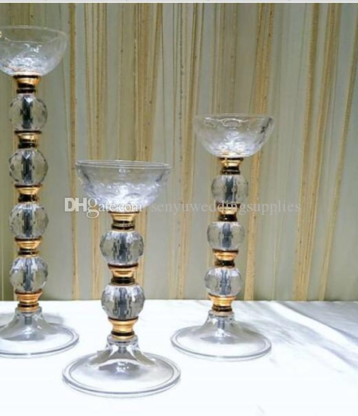 New style 25cm/80cm tall)acrylic crystal Goods Crystal Candle Stand gold Shape Wedding Tall Centerpieces Decoration Flower Stand senyu0325