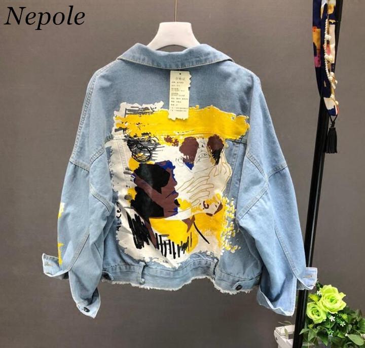 Neploe motif peint à la main Lettres Manteau Chic Imprimer Denim Veste Femme Automne 2019 Printemps poches BF Outwear 69604