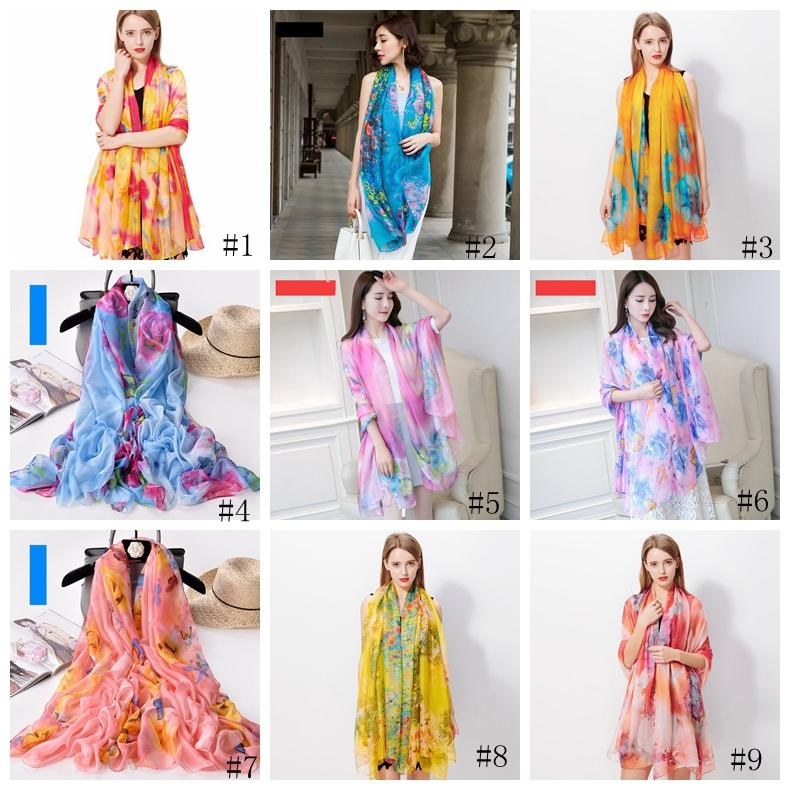 200*140cm Fashion Silk Scarves Shawl Women Chiffon Beach Towel Blanket Floral Print Summer Sunscreen Wraps Girl Sarongs Scarf GGA3376-1