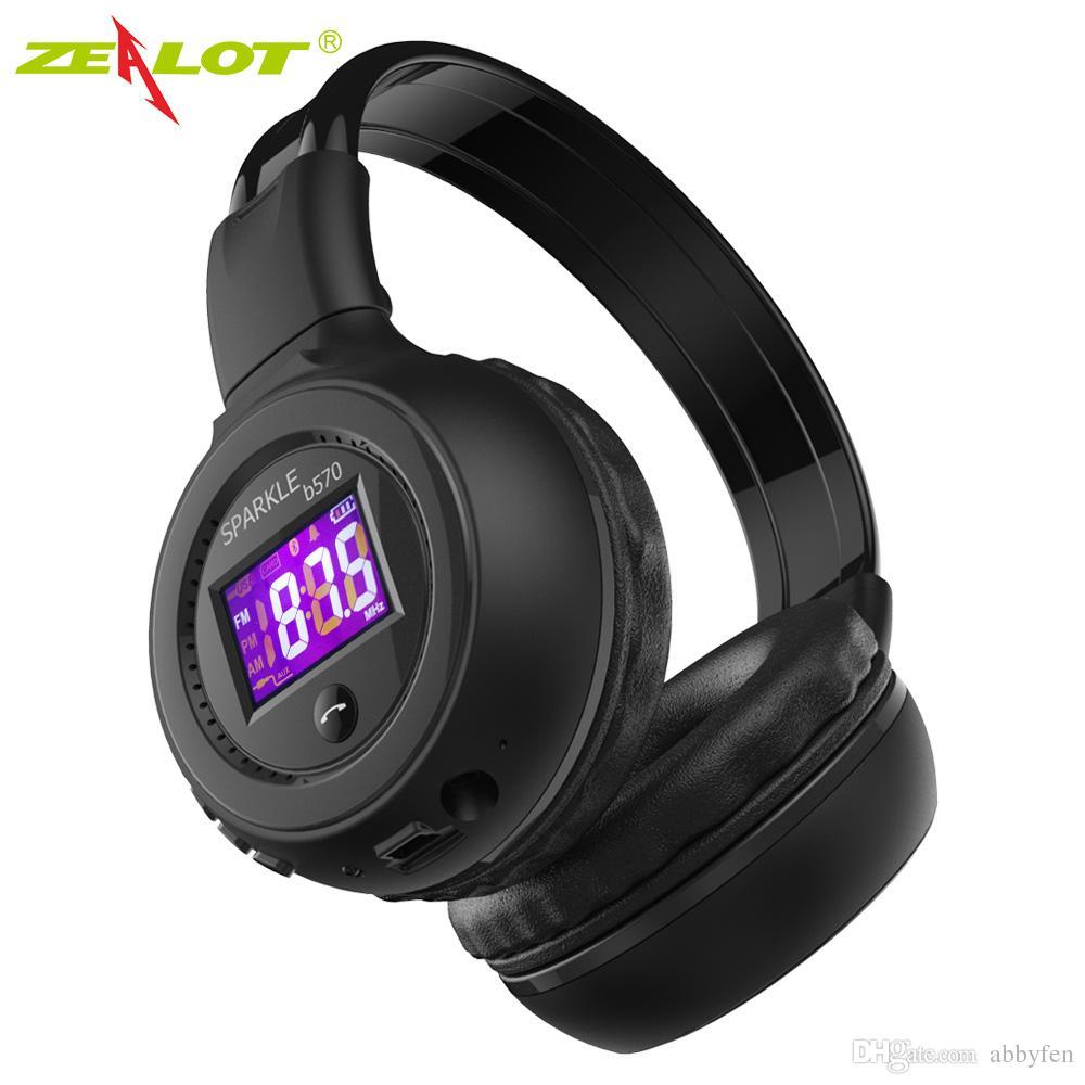 Hot Selling Zealot Bluetooth Headphone Foldable Hifi Stereo Wireless Earphone With LCD Display Screen Headset FM Radio Micro SD Slot