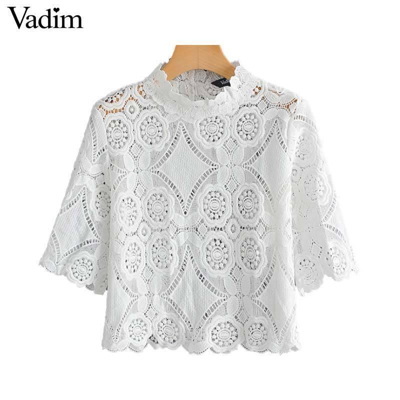Broderie élégante de Vadim des femmes évider Blouse avec un col blanc Blanc Casual Wear Top Da297 Y19071101