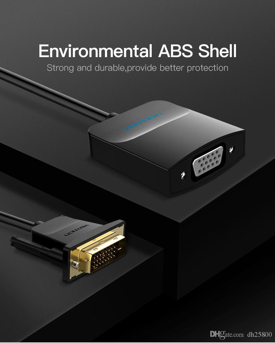Vention DVI D zum VGA Adapter DVI 24+ 1 VGA Konverterkabel Digital Analog Audio Converter 1080P für Xbox PS3 Laptop Fernsehkasten Freies Verschiffen