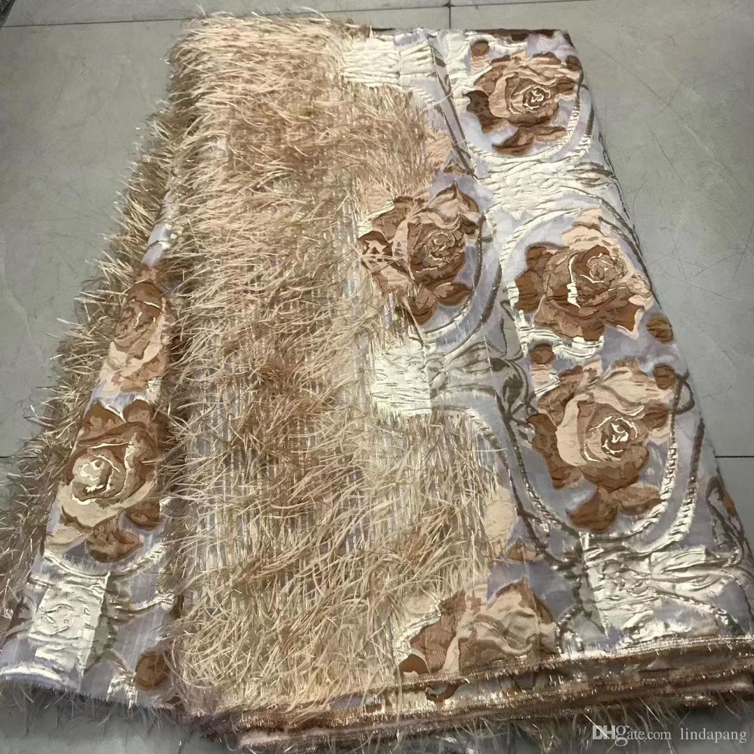 Latest 2020 Brocade Lace Fabric African Jacquard Fabric Lace High Quality Nigerian French Tulle Lace for Party Wedding