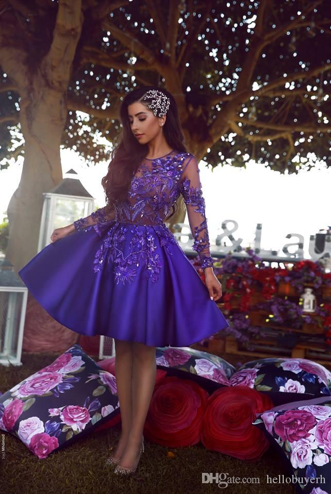 Sexy Sheer Top Long Sleeve Short Mini Cocktail Party Dresses vestidos de fiesta african Prom Dresses 2019 New Purple Evening Gowns 2019