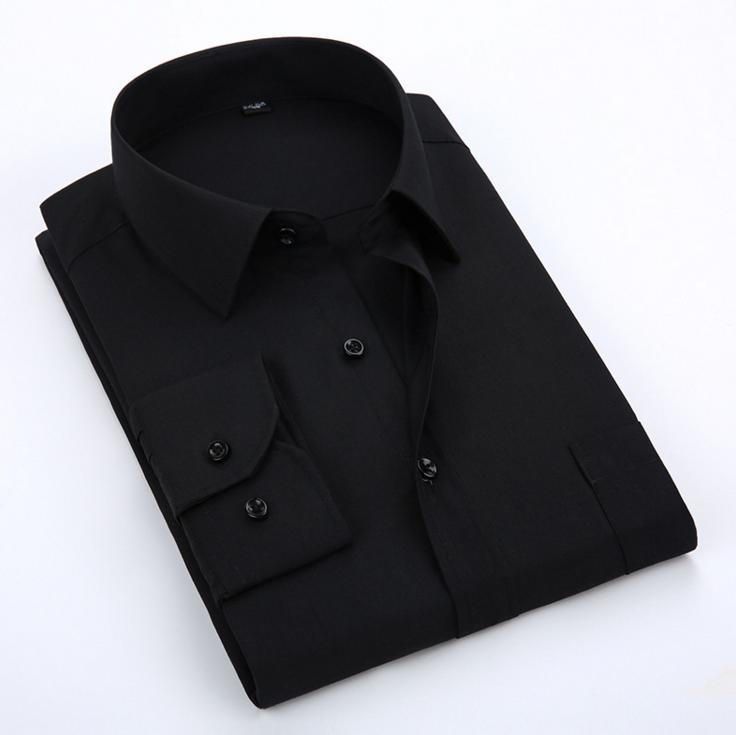 Acacia Pessoa Camisa Social Black Mens Camisas de Vestido de Manga Longa Camisas de Trabalho de Escritório Tamanho Grande Roupas Masculinas de Casamento Personalizado