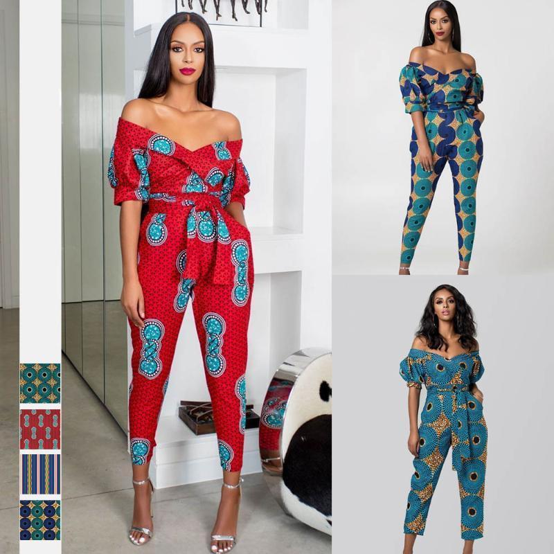 2020 африканская новая осенняя одежда дамы халат африканский комбинезон плюс брюки дашики мода плечо от африканских платьев для женщин