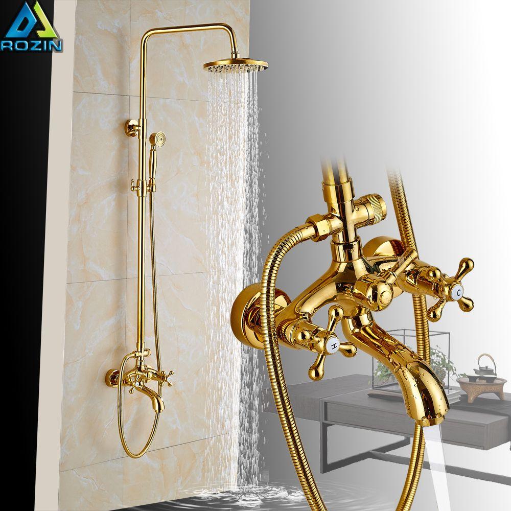 "Luxury Golden Bathroom Shower Mixer Taps Wall 8"" Rainfall Bath Shower Faucet Set W/ Handshower Tub Spout"