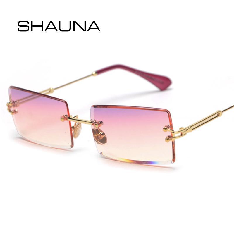 SHAUNA Moda Dikdörtgen Gradyan Güneş Kadınlar Çerçevesiz Güneş Gözlükleri
