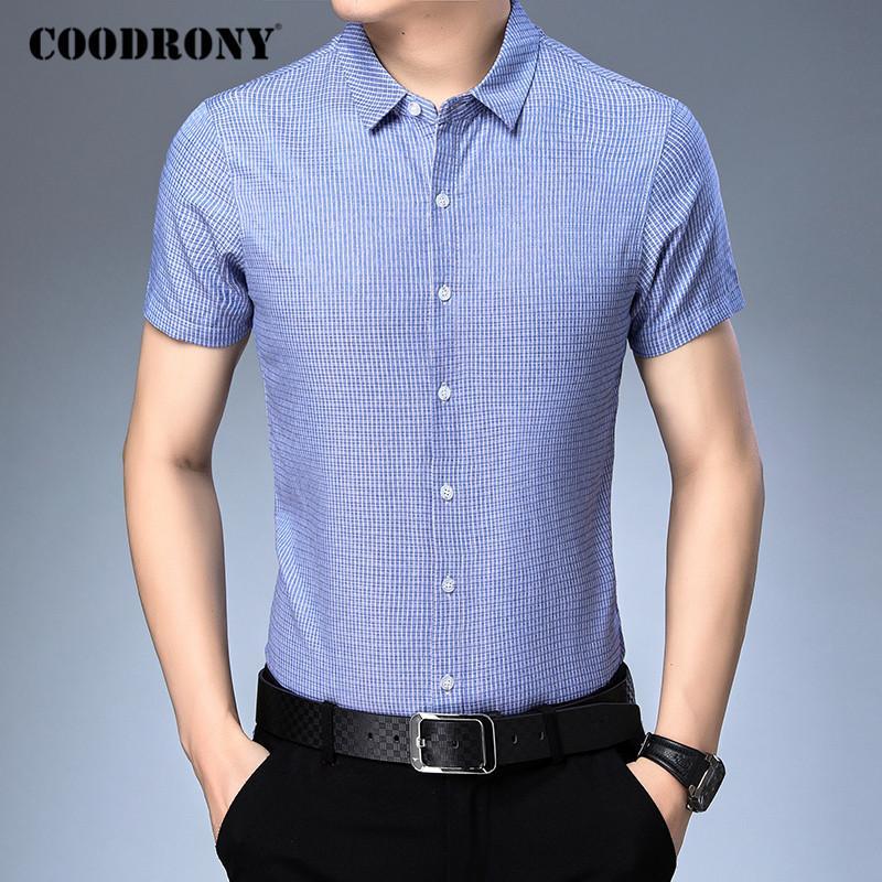 COODRONY мужская рубашка весна лето с коротким рукавом бизнес повседневные рубашки Мужская одежда мода полосатый хлопок Camisa Masculina C6016S