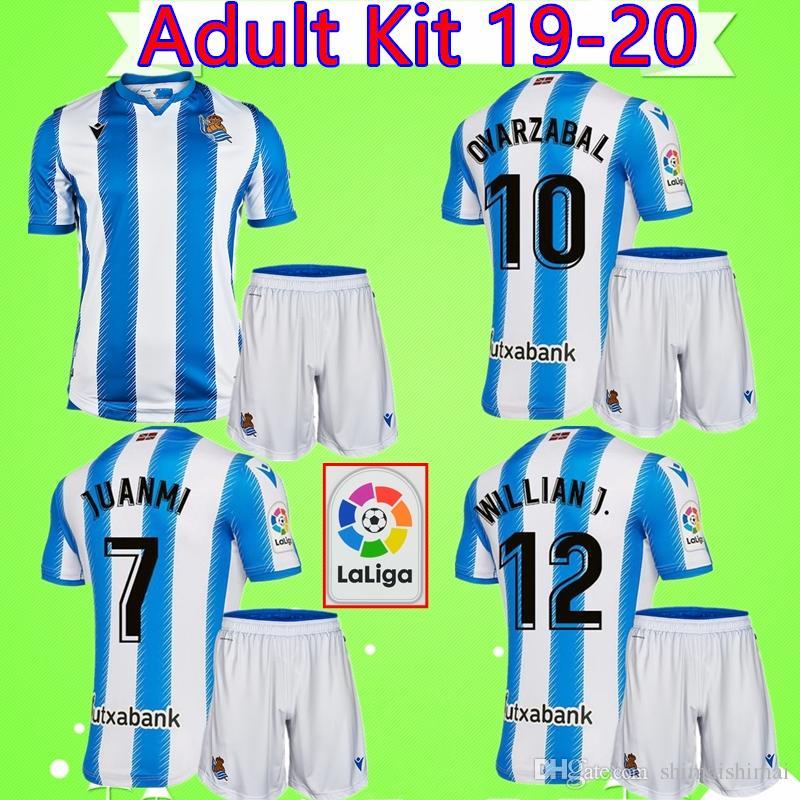 Kits para adultos 19 20 REAL SOCIEDAD camiseta de fútbol # 8 Merino trajes para hombre Camiseta de fútbol 2019 2020 mans sets camiseta de fútbol Oyarzabal JOSE
