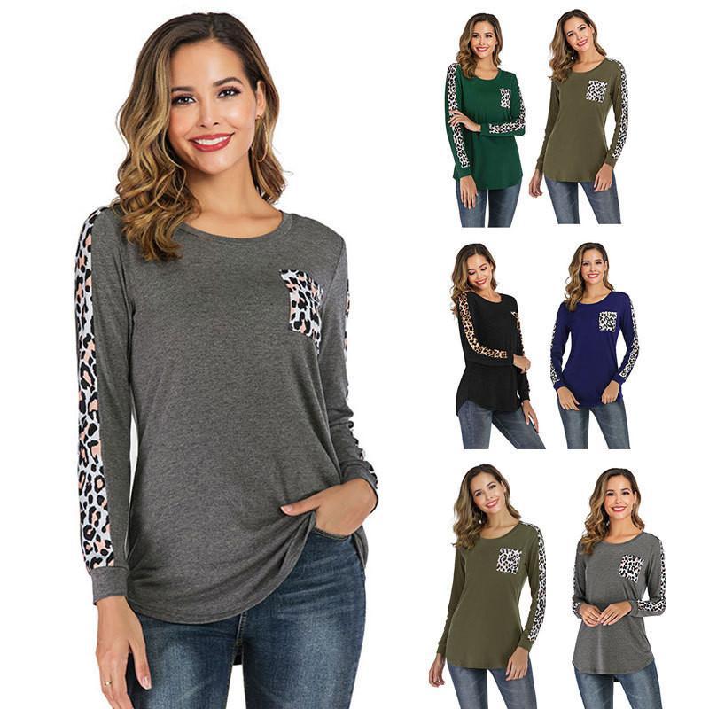 Новые женские футболки с длинным рукавом лоскутные путешествия повседневная футболка шею топы с леопардовым принтом рубашки дизайнер реглан блузка осень и зима