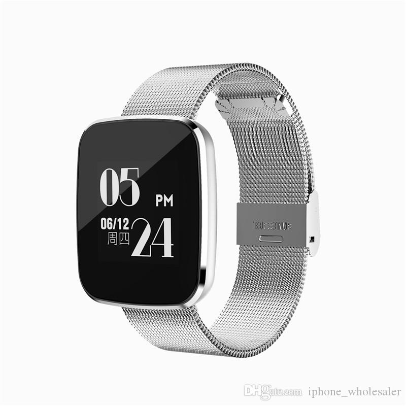 V6 intelligent Guet du sang Taux de pression cardiofréquencemètre Sports Tracker intelligent Wristwatch IP67 Bracelet Bluetooth Smart étanche pour iPhone Android