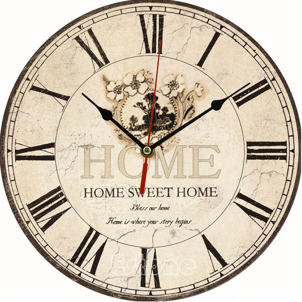 Large Vintage Flower Wooden Wall Clock Kitchen Antique Shabby Chic Retro  Large Unique Wall Clocks Large Vintage Wall Clock From Hymen, $22.18| ...