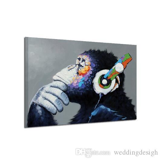 HD Baskılar Tuval Posterler Ev Dekorasyonu Şempanzeler Düşünceler Resimlerinde Duvar Sanatı Manzara Resimleri Modüler Oturma Odası