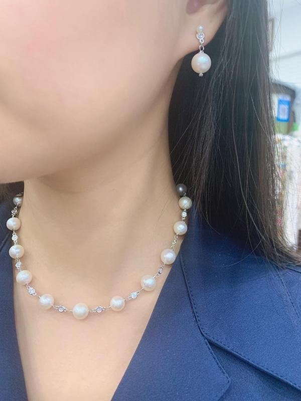 natural fresh water pearl necklace classic 925 sterling silver bling bling perfect round 40CM 45CM accept order any length