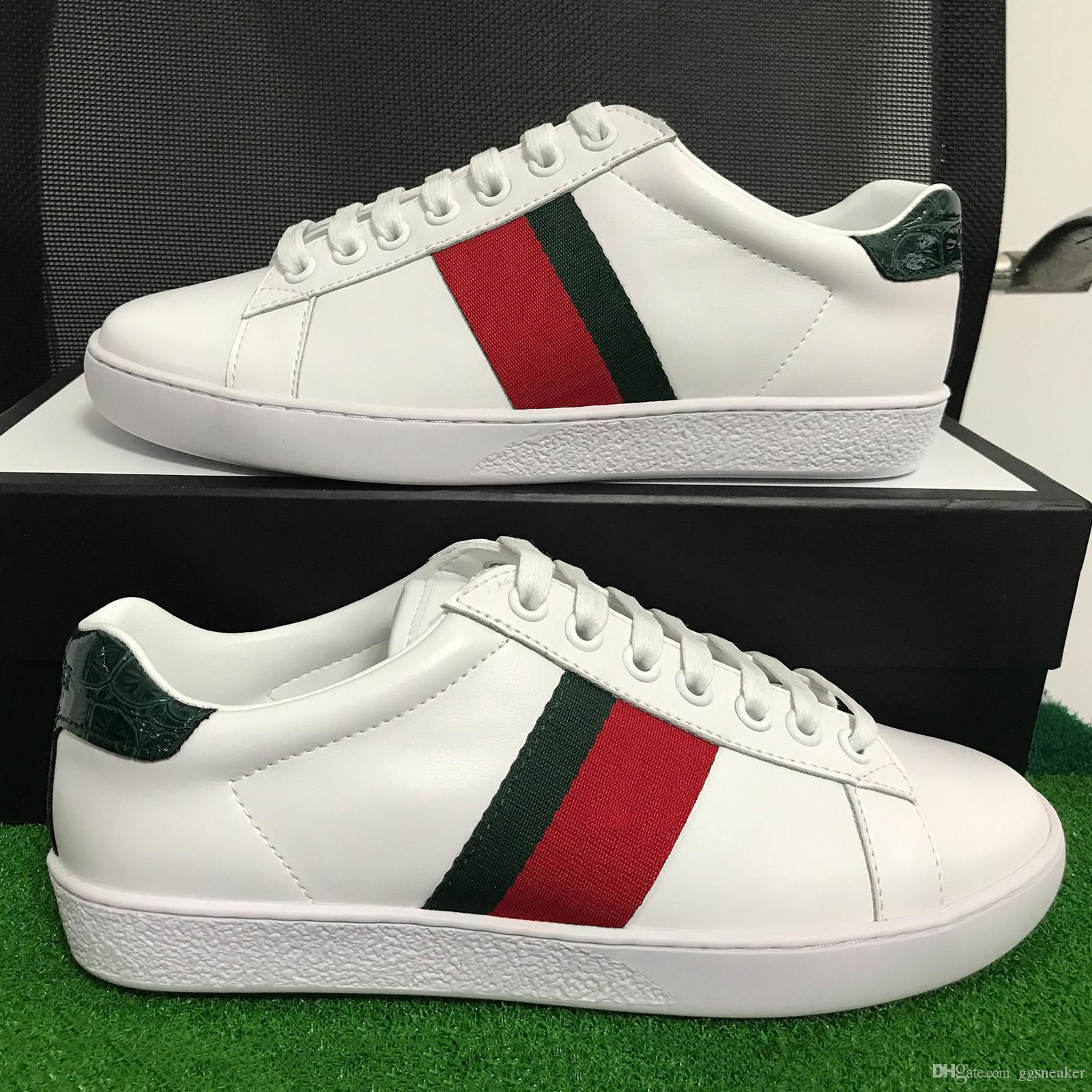 Lüks Markalar Erkek Kadın Günlük Ayakkabılar Tasarımcı Sneakers Yeşil ACE kutusuyla Top Quality Orijinal Deri ile Moda Ayakkabı sneakers çizgili kırmızı