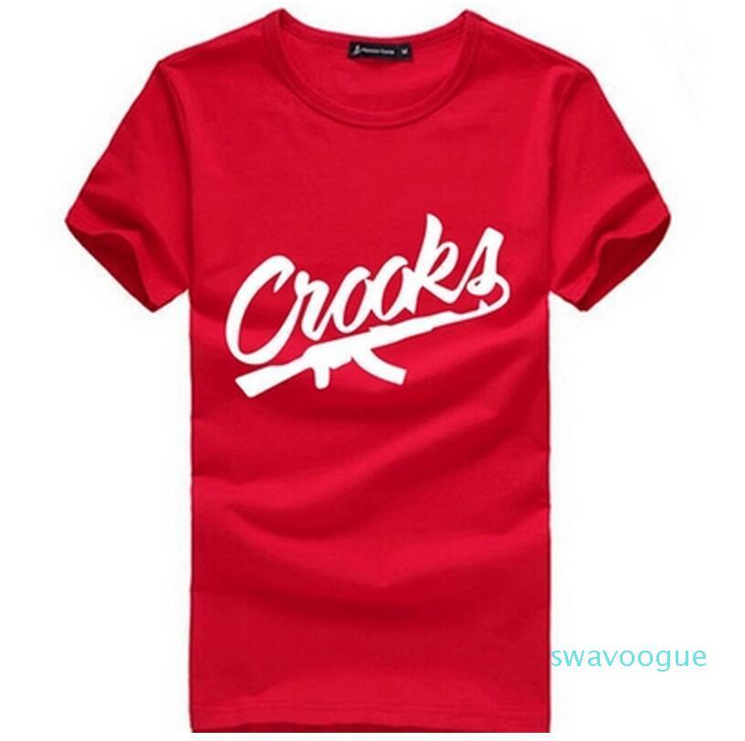 Crooks und Schlösser T Shirts Männer Kurzarm Baumwolle Man T-Shirt CROOKS Brief Herren T-Shirt-Oberseiten-T-Shirt