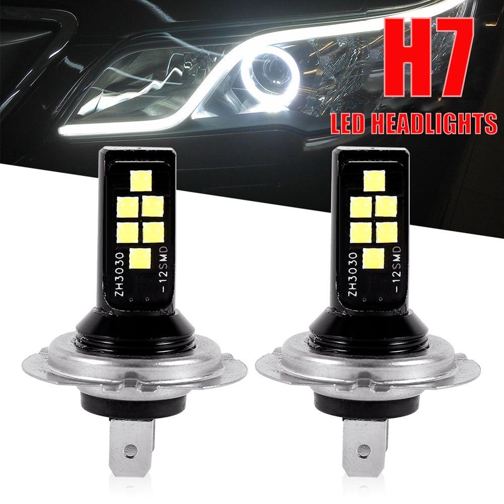 2PCS H7 LED автомобили противотуманной Лампочка 12W 6000K 1200LM Фара Луковица 12SMD 3030