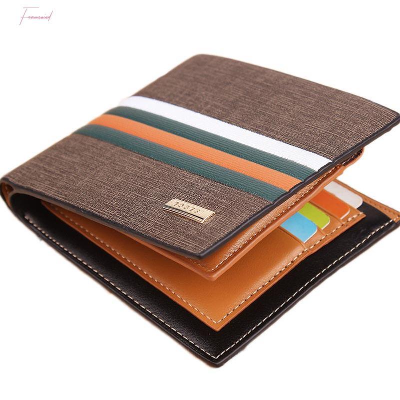 남자에 대한 뜨거운 판매 스트라이프 남성 가죽 지갑 3 폴드 남성 지갑 사진 홀더 신용 카드 홀더