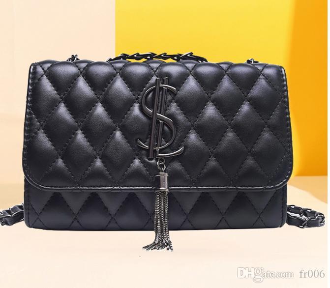 2020 Nouvelle marque célèbre Plaid Sac à bandoulière femmes chaîne Messenger Bag Designer classique de grande capacité PU Sac en cuir Femme Crossbody