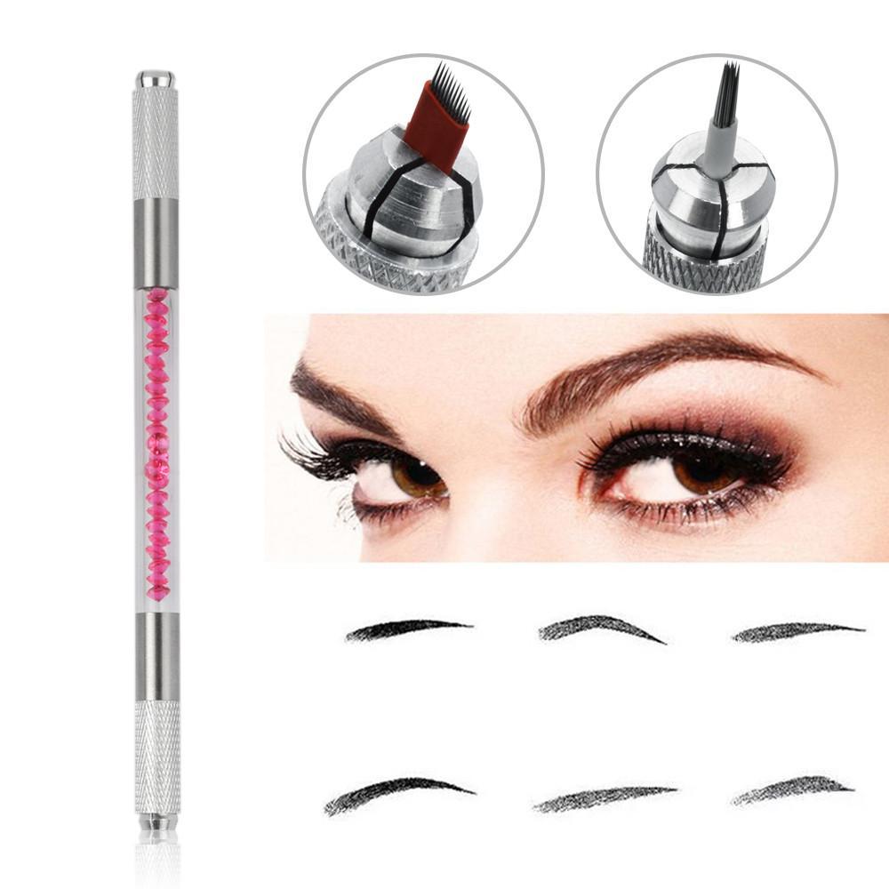 2 Colors New Manual Tattoo Machine Permanent Makeup Tattoo Pen Crystal Handle Microblading Pen Cross Tip Lip Eyebrow Makeup 2018