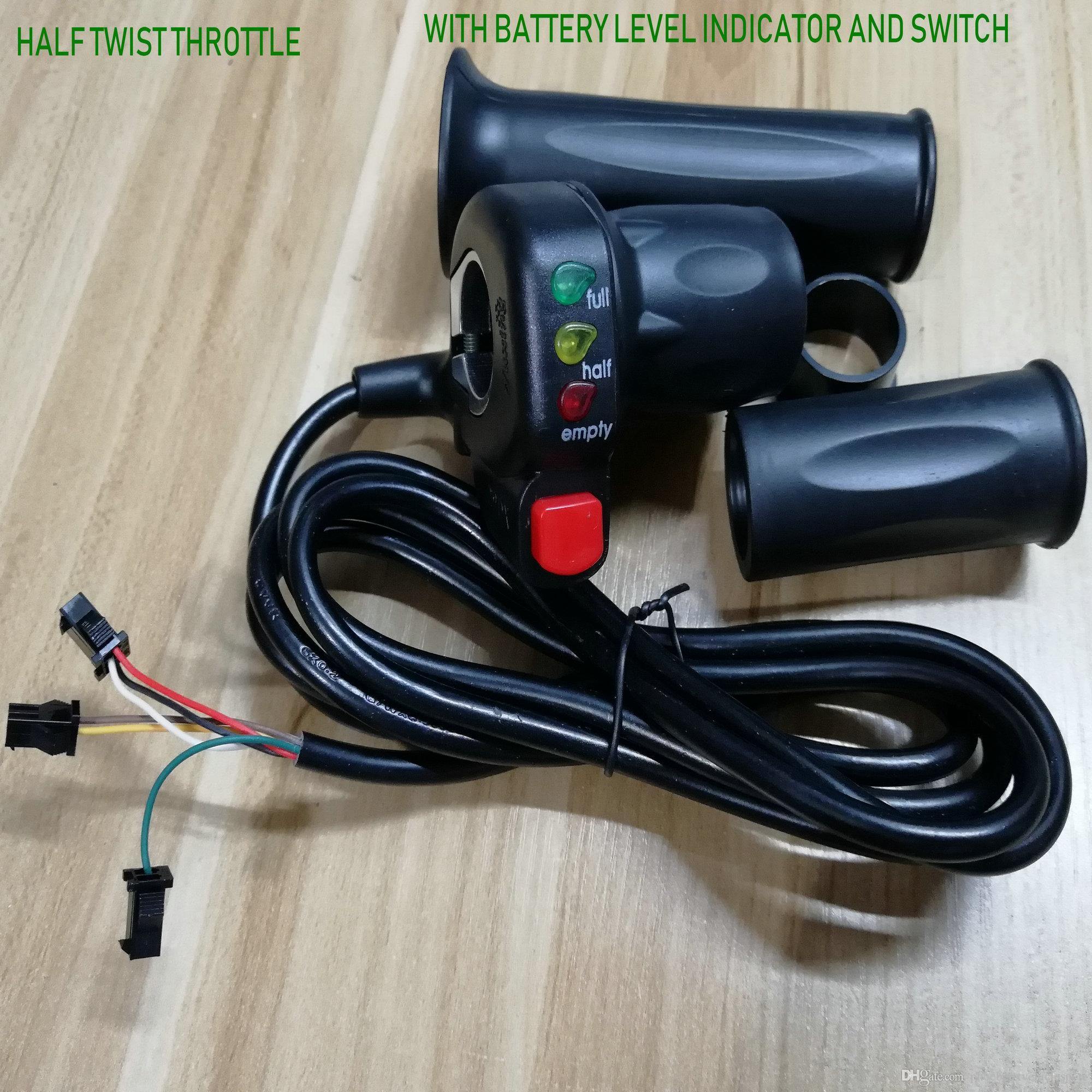 Elektrikli scooter bisiklet üç tekerlekli bisiklet için lightsswitch hızlandırıcı gidon kulpları belirten pil seviyesi göstergesi ile yarım döner bir gaz /