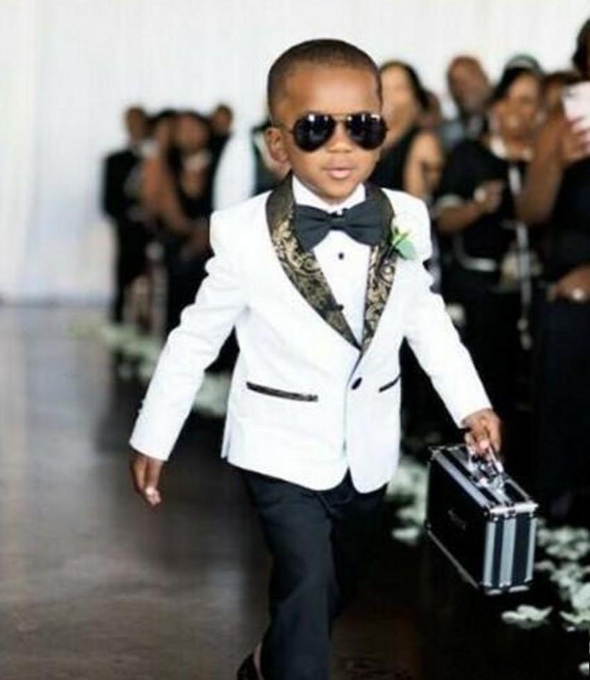 تخصيص الأولاد الأبيض ارتداء البدلات الرسمية شال طوق الأطفال البدلة كيد حفلة موسيقية الدعاوى (سترة + سروال + القوس التعادل) d69