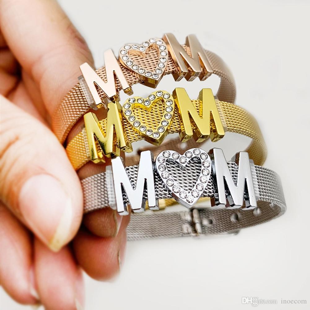 Moda Gül Altın Renk Paslanmaz Çelik Hasır Bilezik Seti Rhinestone Anne Mektubu Charm Bilezik Bileklik Kadın Takı Hediyeler için