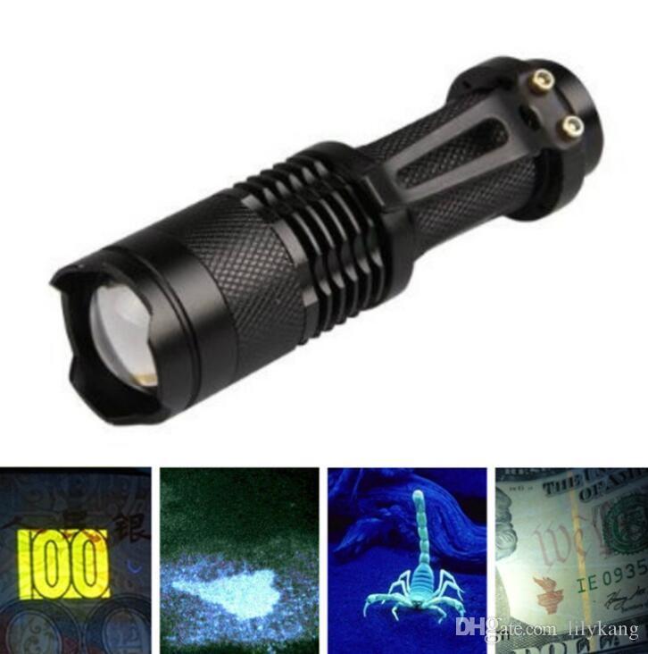 3W 크리 UV LED 손전등 보라색 빛 395-410nm 알루미늄 자외선 플래시 토치 램프 휴대용 랜턴 Linternas 돈 얼룩 감지기
