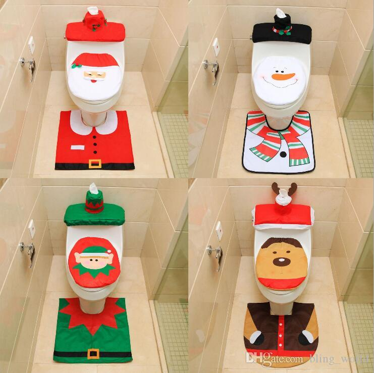 Outstanding 2019 Santa Toilet Seat Covers Christmas Decoration Rug Reindeer Toilet Seat Covers Rug Hotel Bathroom Set Xmas Gift Lxl376 From Bling World 4 44 Customarchery Wood Chair Design Ideas Customarcherynet