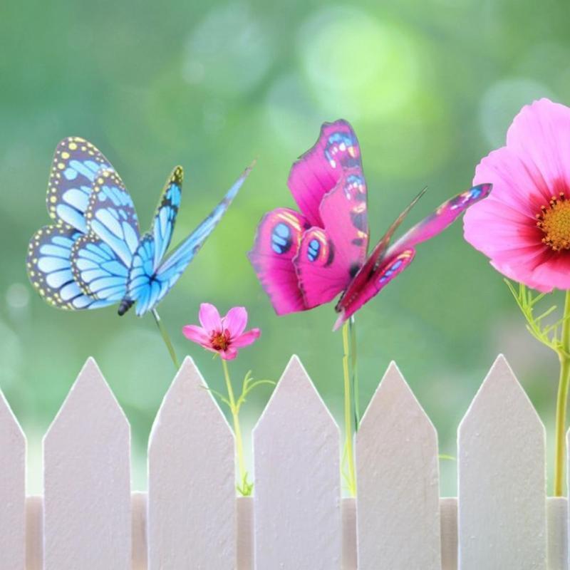 정원을위한 새로운 4 개 PVC 3D 다채로운 나비 스테이크 야외 정원 마당 화분 장식 7 / 12cm 나비 말뚝 장식