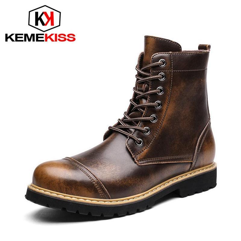 KemeKiss caldi della peluche del cuoio genuino degli uomini Stivali Autunno Inverno Lace Up rotonda Toe Shoes Oxford metà polpaccio Work Boots formato 38-44